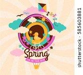 spring paper illustration | Shutterstock .eps vector #585603881