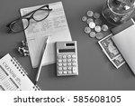 Small photo of Accountant verify the Saving Account Book and Statement of financial statements / Bookkeeping / Due date /Money / Accountancy Concept.