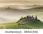 early morning on countryside ... | Shutterstock . vector #58561546