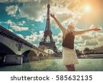 woman tourist selfie near the... | Shutterstock . vector #585632135