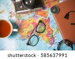 concept of travel   overhead... | Shutterstock . vector #585637991