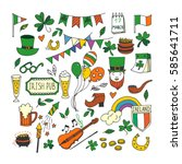 saint patrick's day traditional ... | Shutterstock .eps vector #585641711
