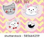 Stock vector cat set 585664259