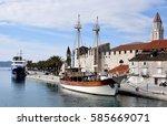 trogir   medieval town city... | Shutterstock . vector #585669071