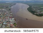 Small photo of Aerial view to Georgetown city the capital of Guyana and dirty Demerara river