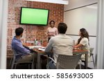 businesswoman standing by... | Shutterstock . vector #585693005