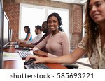 portrait of staff in busy... | Shutterstock . vector #585693221