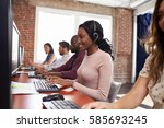 staff working in busy customer... | Shutterstock . vector #585693245