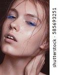 emotional  beautyful red hair... | Shutterstock . vector #585693251