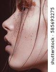 emotional  beautyful red hair... | Shutterstock . vector #585693275