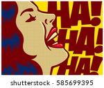 pop art style comics panel... | Shutterstock .eps vector #585699395