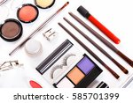 makeup cosmetics  brushes and... | Shutterstock . vector #585701399