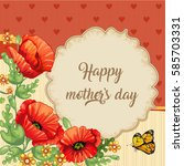 happy mothers day. card with... | Shutterstock . vector #585703331