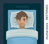 young man with sleep problem.... | Shutterstock .eps vector #585709601