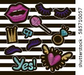 patch badges embroidery set.... | Shutterstock .eps vector #585710057