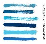 blue vector strokes of paint on ... | Shutterstock .eps vector #585714614