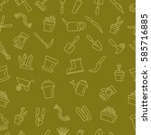 seamless garden pattern. vector ... | Shutterstock .eps vector #585716885