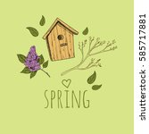 spring background. hand drawn... | Shutterstock .eps vector #585717881