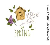 spring background. hand drawn... | Shutterstock .eps vector #585717941