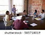businessman standing to address ...   Shutterstock . vector #585718019