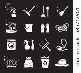 clean icons set. white on a...   Shutterstock .eps vector #585718901