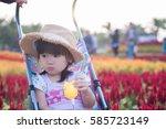 portrait of asian little girl... | Shutterstock . vector #585723149