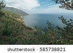 mountain and sea. | Shutterstock . vector #585738821