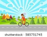 the boy on the bike. summer... | Shutterstock .eps vector #585751745