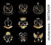 old turnkey keys emblems set.... | Shutterstock .eps vector #585756539