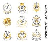 old turnkey keys emblems set.... | Shutterstock .eps vector #585761495