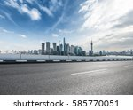 clean asphalt road with city... | Shutterstock . vector #585770051