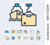 delivery and shipment icons set | Shutterstock .eps vector #585772049