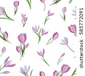 seamless pattern with spring... | Shutterstock .eps vector #585772091