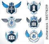 heraldic emblems with wings... | Shutterstock .eps vector #585778259