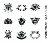 royal symbols  flowers  floral... | Shutterstock .eps vector #585778481