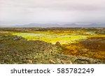 Small photo of Panorama inside Dallol volcanic crater in Danakil depression, Afar, Ethiopia