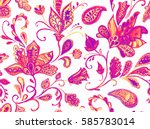 hand drawn flower seamless... | Shutterstock . vector #585783014