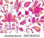 hand drawn flower seamless...   Shutterstock . vector #585783014