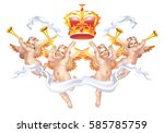 four cherub with a crown on a...