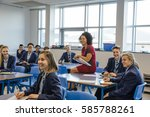 happy high school students and... | Shutterstock . vector #585788261