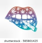 sexy fatal biting lips with... | Shutterstock .eps vector #585801425