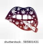 sexy fatal biting lips with... | Shutterstock .eps vector #585801431