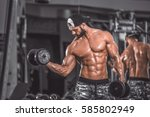 biceps curl. | Shutterstock . vector #585802949