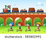 scene with trains on bridge and ... | Shutterstock .eps vector #585802991