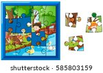jigsaw puzzle game with kids in ... | Shutterstock .eps vector #585803159
