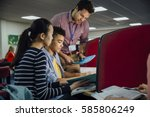 students are working on... | Shutterstock . vector #585806249