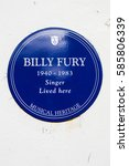 Small photo of LONDON, UK - FEBRUARY 16TH 2017: A blue plaque outside a house in Cavendish Avenue in London, on 16th February 2017, where iconic British pop star Billy Fury lived.