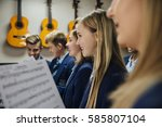 close up shot of choir students ... | Shutterstock . vector #585807104