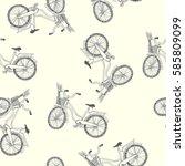 a bike with basket. vector... | Shutterstock .eps vector #585809099