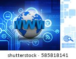 3d rendering globe with www  | Shutterstock . vector #585818141